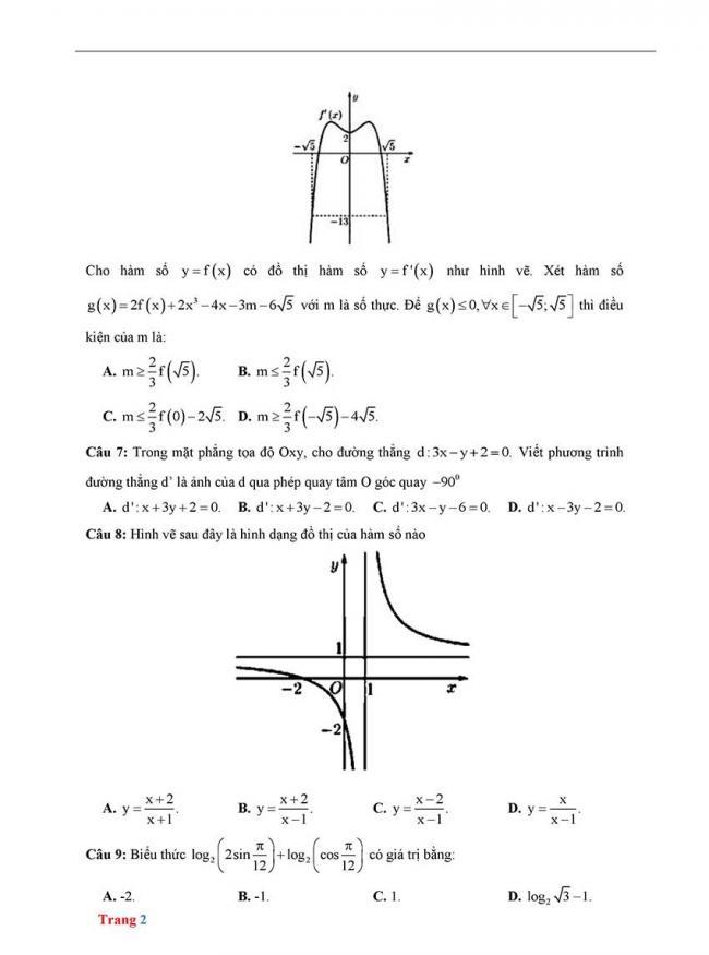 Đề thi thử môn Toán thptqg năm 2018 trường Chuyên Biên Hòa - Hà Nam trang 2