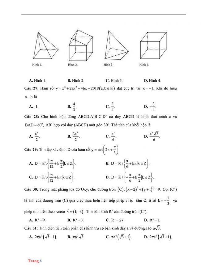 Đề thi thử môn Toán thptqg năm 2018 trường Chuyên Biên Hòa - Hà Nam trang 6