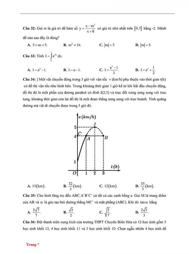 Đề thi thử môn Toán thptqg năm 2018 trường Chuyên Biên Hòa - Hà Nam trang 7