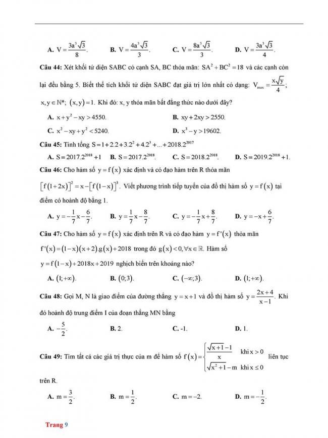 Đề thi thử môn Toán thptqg năm 2018 trường Chuyên Biên Hòa - Hà Nam trang 9