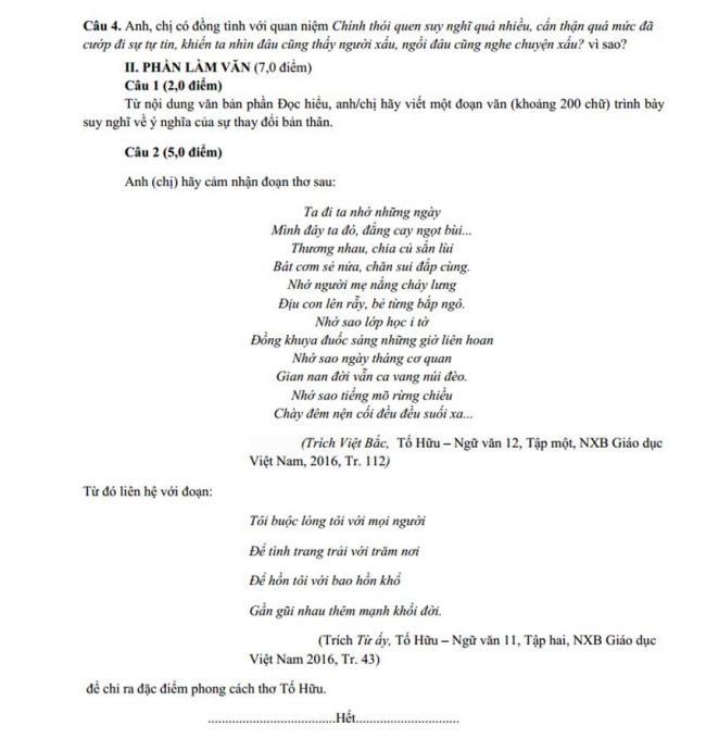 Đề thi thử môn Văn thptqg năm 2018 trường Đặng Thúc Hứa – Nghệ An lần 1 trang 2