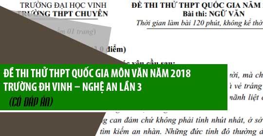 Đề thi thử môn Văn thptqg năm 2018 trường ĐH Vinh – Nghệ An