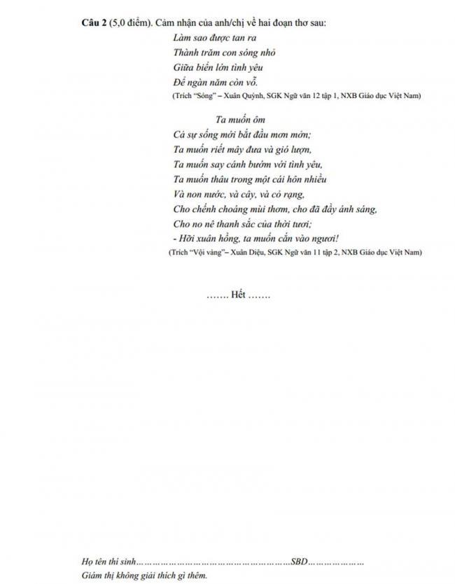 Đề thi thử môn Văn thptqg năm 2018 trường Chuyên Lê Qúy Đôn – Quảng Trị lần 2 trang 2