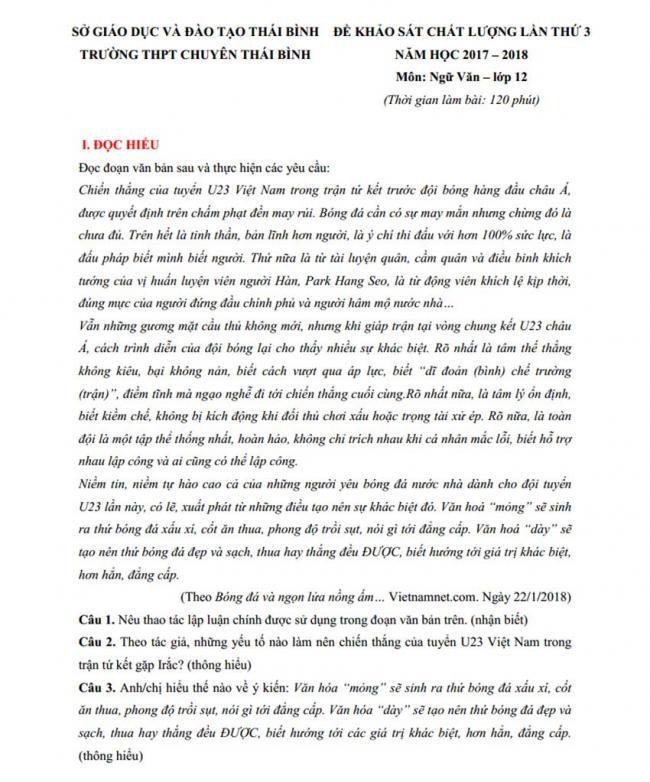 Đề thi thử môn Văn thptqg năm 2018 trường Chuyên Thái Bình trang 1