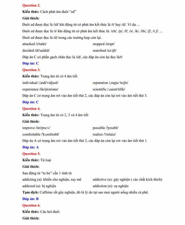 Đáp án đề thi thử môn Anh thptqg năm 2018 trường THPT chuyên Lê Quý Đôn Quảng Trị trang 2
