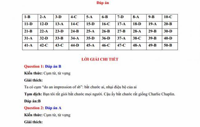 Đáp án đề thi thử môn Anh thptqg năm 2018 trường THPT chuyên Ngoại ngữ Hà Nội trang 1