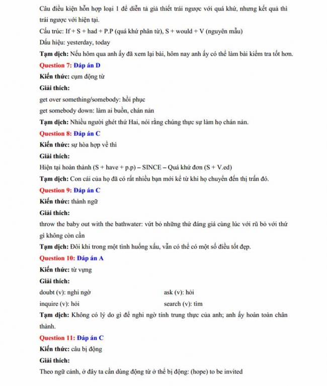 Đáp án đề thi thử môn Anh thptqg năm 2018 trường THPT chuyên Sơn La trang 3