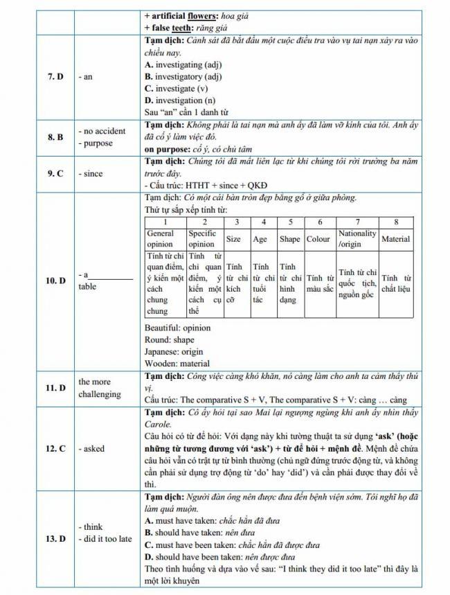 Đáp án đề thi thử môn Anh thptqg năm 2018 trường THPT Nguyễn Thị Minh Khai - Hà Tĩnh trang 2