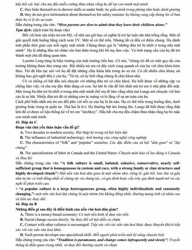 Đáp án đề thi thử môn Anh thptqg năm 2018 trường THPT Nguyễn Thị Minh Khai - Hà Tĩnh trang 6