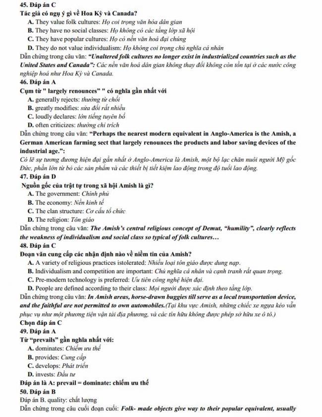 Đáp án đề thi thử môn Anh thptqg năm 2018 trường THPT Nguyễn Thị Minh Khai - Hà Tĩnh trang 7