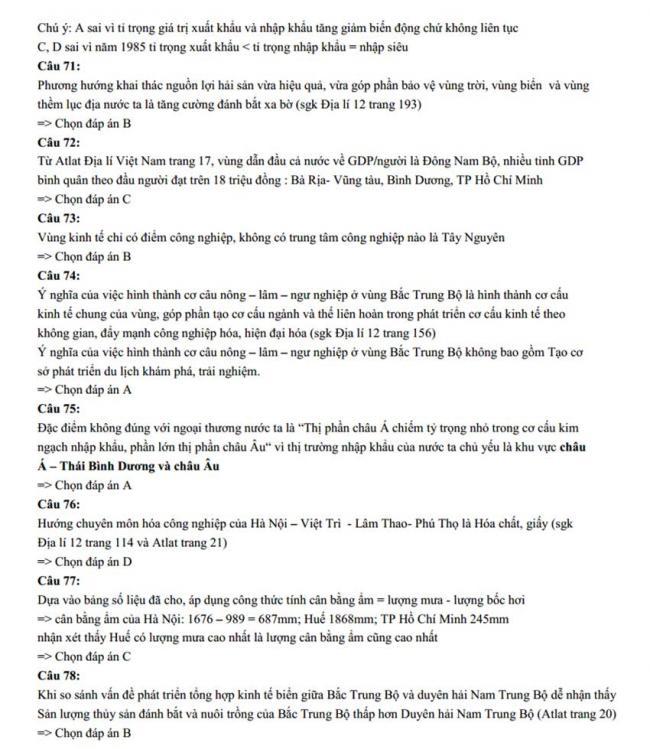 Đáp án Đề thi thử môn Địa lý thptqg năm 2018 trường Chuyên Lê Hồng Phong – Nam Định lần 2 trang 5
