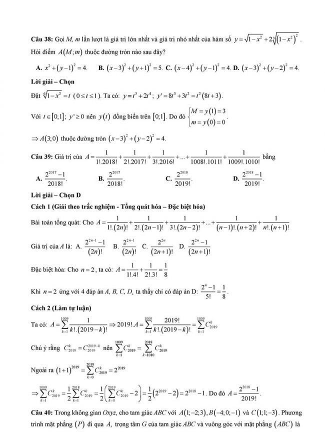 Đáp án Đề thi thử môn Toán thptqg Đà Nẵng năm 2018 trang 11