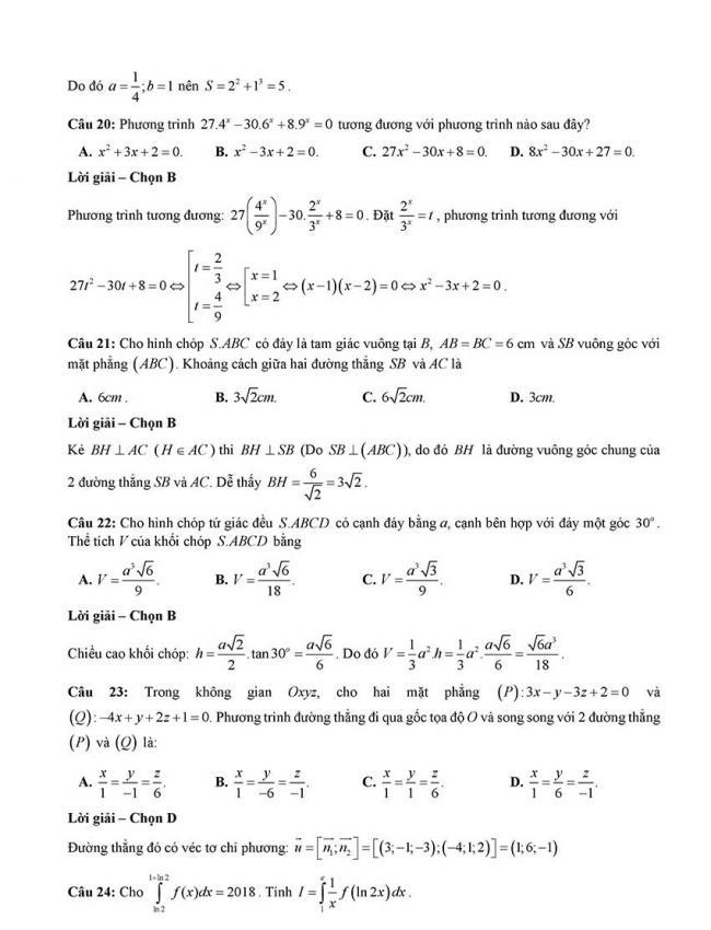 Đáp án Đề thi thử môn Toán thptqg Đà Nẵng năm 2018 trang 5