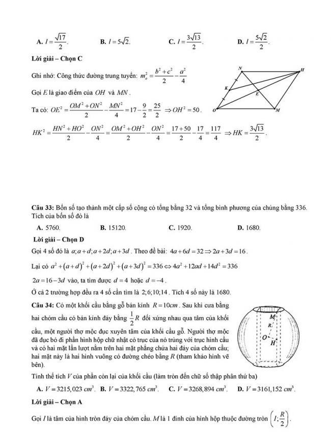 Đáp án Đề thi thử môn Toán thptqg Đà Nẵng năm 2018 trang 8