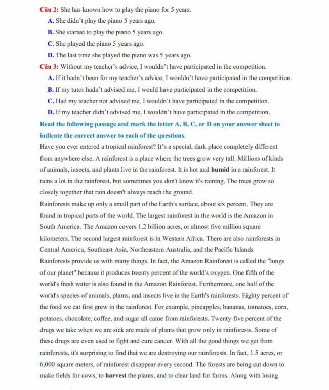 Đề thi thử môn Anh thptqg năm 2018 tỉnh Nam Định - trang 5