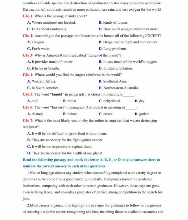 Đề thi thử môn Anh thptqg năm 2018 tỉnh Nam Định - trang 6