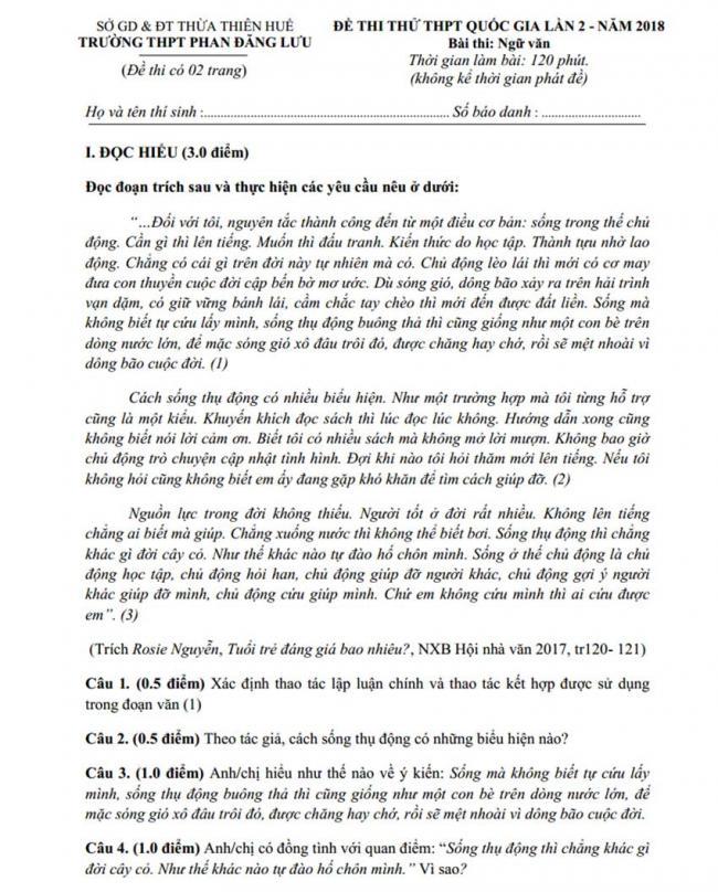 Đề thi thử môn Anh thptqg năm 2018 trường Phan Đăng Lưu – Huế lần 2 trang 1
