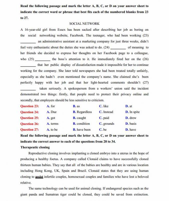 Đề thi thử môn Anh thptqg năm 2018 trường THPT chuyên Lê Quý Đôn Quảng Trị trang 3