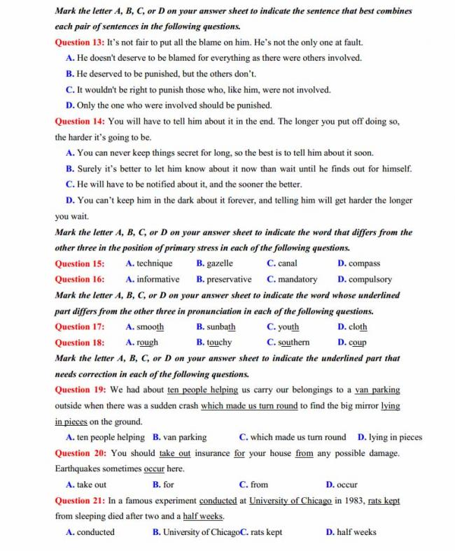 Đề thi thử môn Anh thptqg năm 2018 trường THPT chuyên Ngoại ngữ Hà Nội trang 2