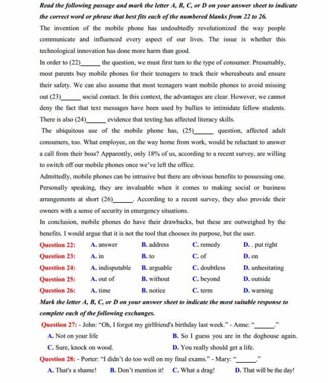 Đề thi thử môn Anh thptqg năm 2018 trường THPT chuyên Ngoại ngữ Hà Nội trang 3