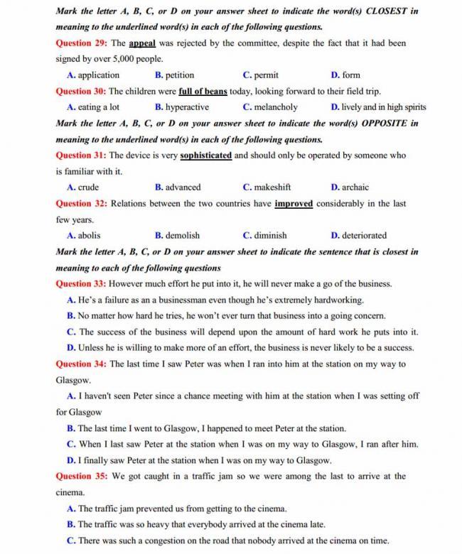 Đề thi thử môn Anh thptqg năm 2018 trường THPT chuyên Ngoại ngữ Hà Nội trang 4