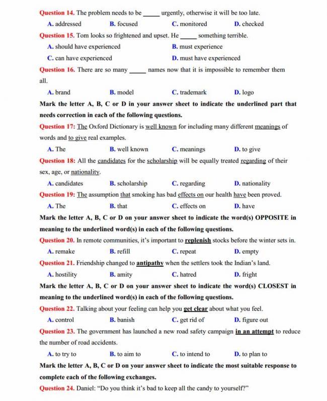 Đề thi thử môn Anh thptqg năm 2018 trường THPT chuyên Sơn La trang 2