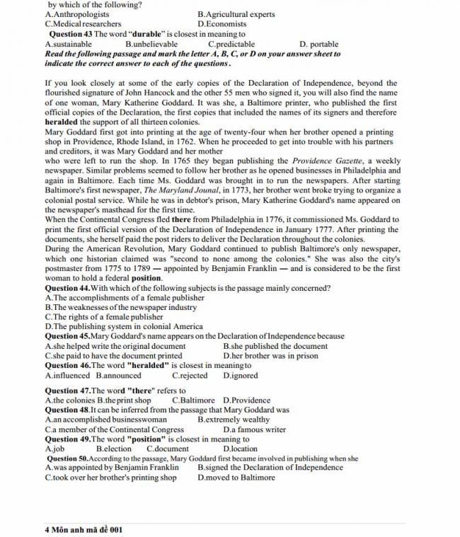 Đề thi thử môn Anh thptqg năm 2018 trường THPT Hương Khê  - Hà Tĩnh - trang 4