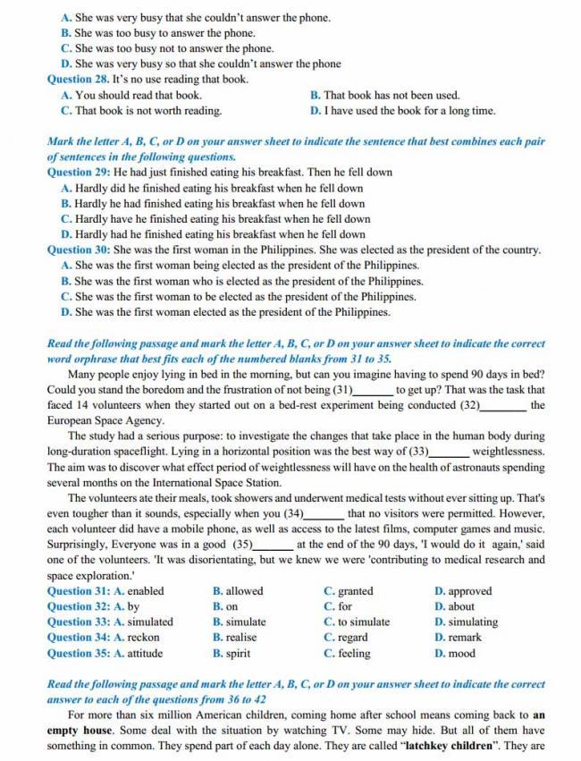 Đề thi thử môn Anh thptqg năm 2018 trường THPT Nguyễn Thị Minh Khai - Hà Tĩnh trang 3