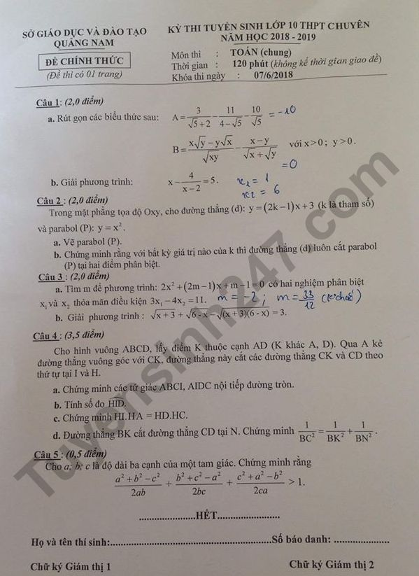 đề toán vào lớp 10 THPT chuyên Quảng nam 2018