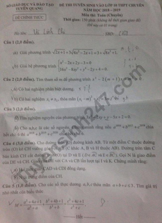 đề toán chuyên thi vào lớp 10 tuyên quang 2018