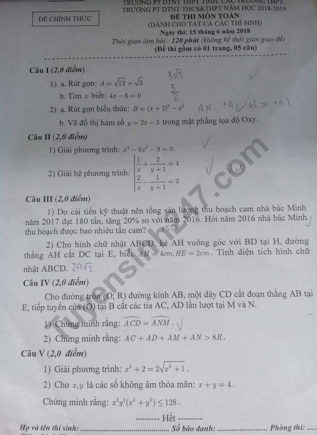 đề thi chính thức môn toán vào lớp 10 tỉnh hòa bình 2018