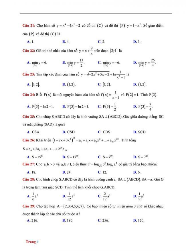 Đề thi thử môn Toán thptqg năm 2018 trường Yên Định 2 - Thanh Hóa lần 2 trang 4
