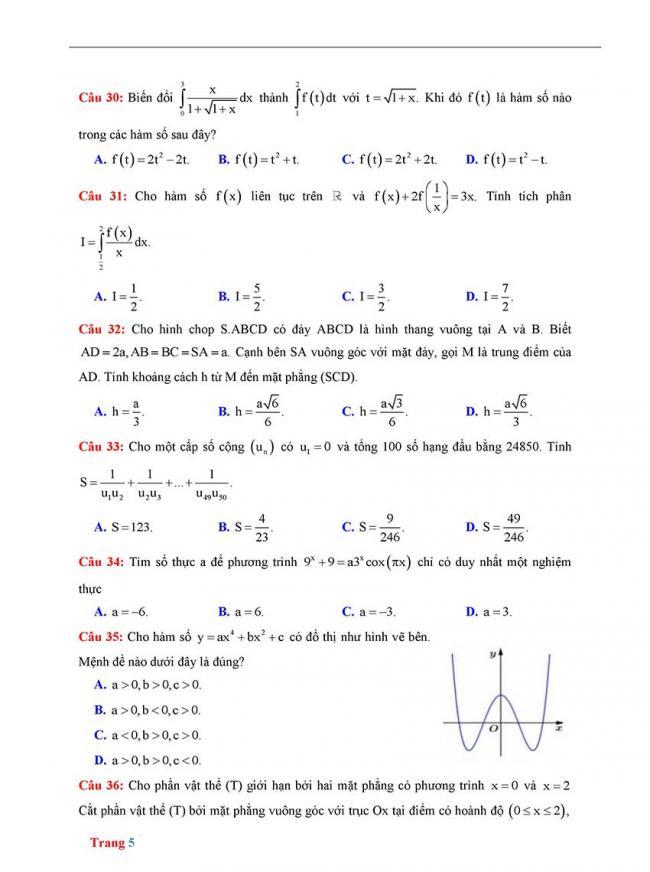 Đề thi thử môn Toán thptqg năm 2018 trường Yên Định 2 - Thanh Hóa lần 2 trang 5