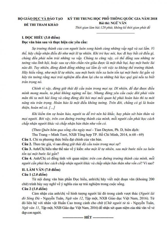 Đề Văn thi thử thptqg Bộ Giáo Dục và Đào Tạo 2018 trang 1