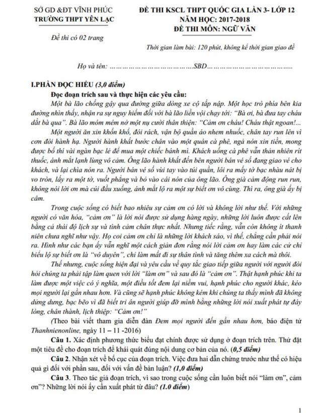 Đề thi thử môn Văn thptqg năm 2018 trường Yên Lạc – Vĩnh Phúc lần 3trang 1