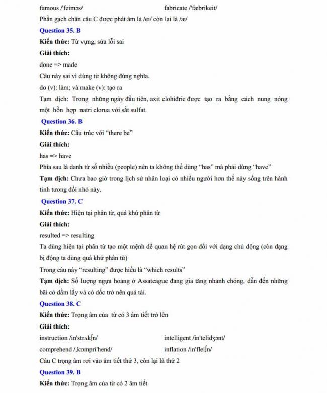 Đáp án đề thi thử môn Anh thptqg năm 2018 trường THPT chuyên Chu Văn An Lạng Sơn trang 11