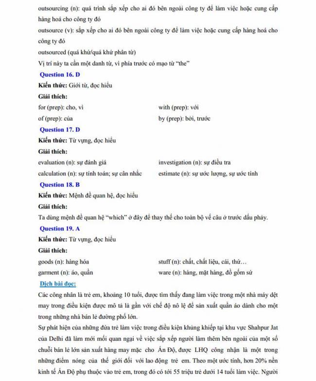 Đáp án đề thi thử môn Anh thptqg năm 2018 trường THPT chuyên Chu Văn An Lạng Sơn trang 5