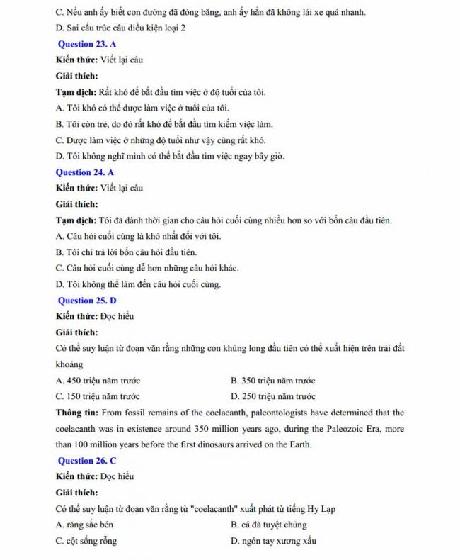 Đáp án đề thi thử môn Anh thptqg năm 2018 trường THPT chuyên Chu Văn An Lạng Sơn trang 7