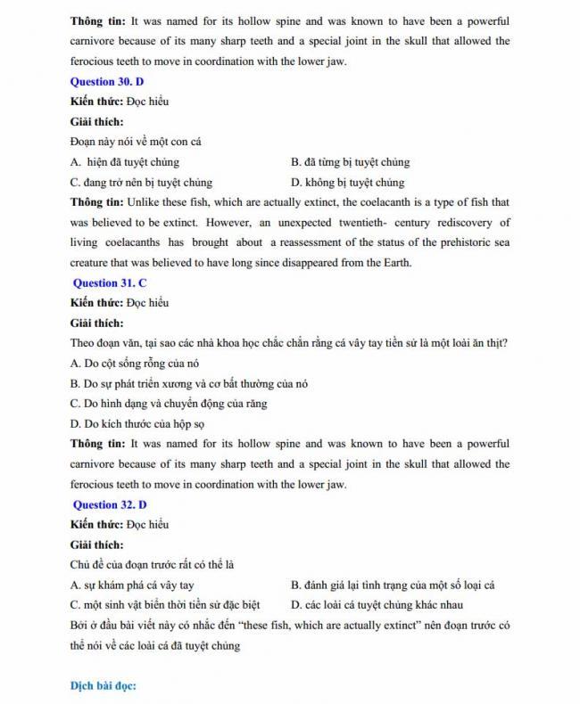 Đáp án đề thi thử môn Anh thptqg năm 2018 trường THPT chuyên Chu Văn An Lạng Sơn trang 9