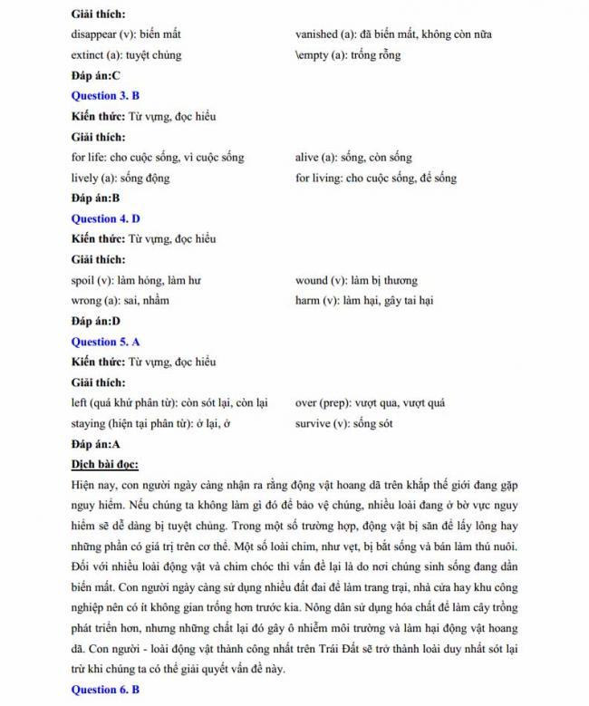 Đáp án đề thi thử môn Anh thptqg năm 2018 trường THPT chuyên Lê Khiết Quảng Ngãi trang 2