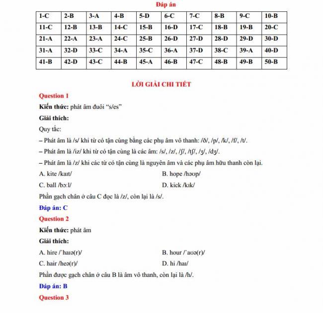 Đáp án đề thi thử môn Anh thptqg năm 2018 trường THPT chuyên Lê Quý Đôn Điện Biên trang 1