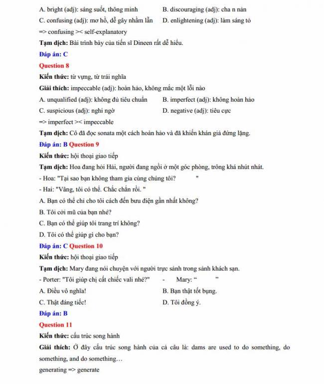 Đáp án đề thi thử môn Anh thptqg năm 2018 trường THPT chuyên Lê Quý Đôn Điện Biên trang 3
