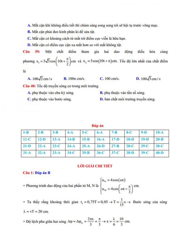Đáp án Đề thi thử môn Lý thptqg năm 2018 trường Thuận Thành 1 – Bắc Ninh