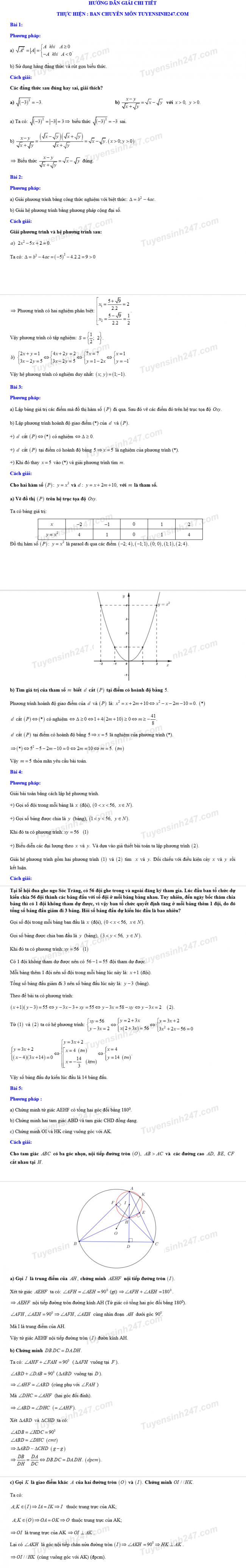 đáp án môn toán thi vào 10 sóc trăng 2018