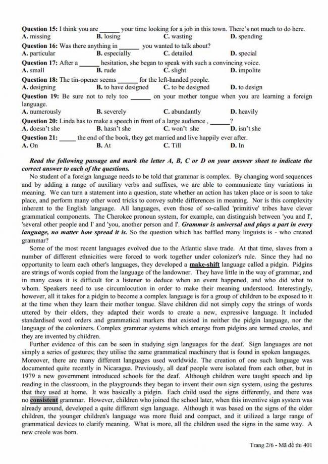 Đề thi thử môn Anh thptqg năm 2018 liên trường THPT Nghệ An trang 2