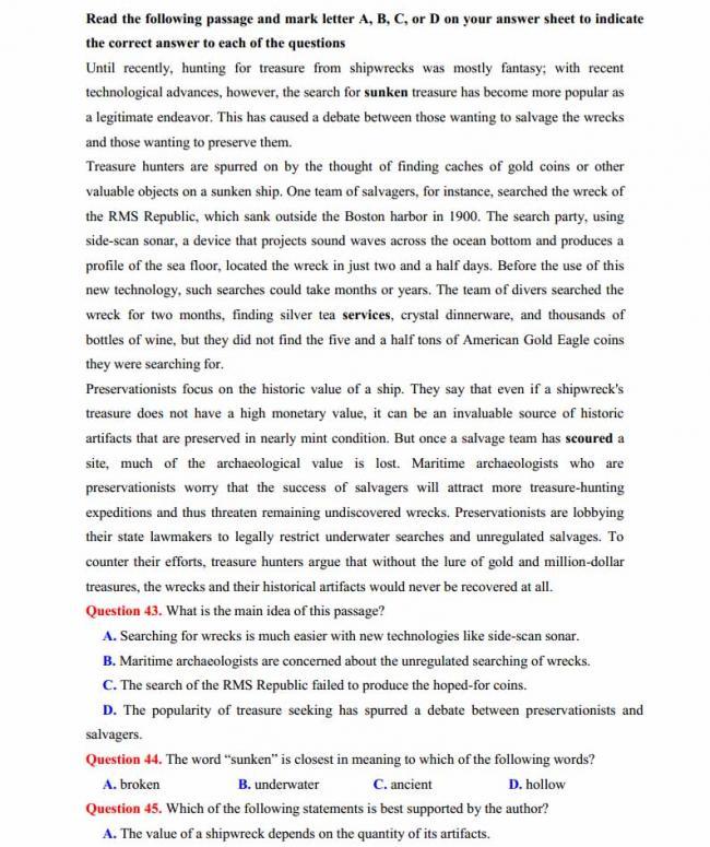 Đề thi thử môn Anh thptqg năm 2018 trường THPT chuyên Lê Khiết Quảng Ngãi trang 6