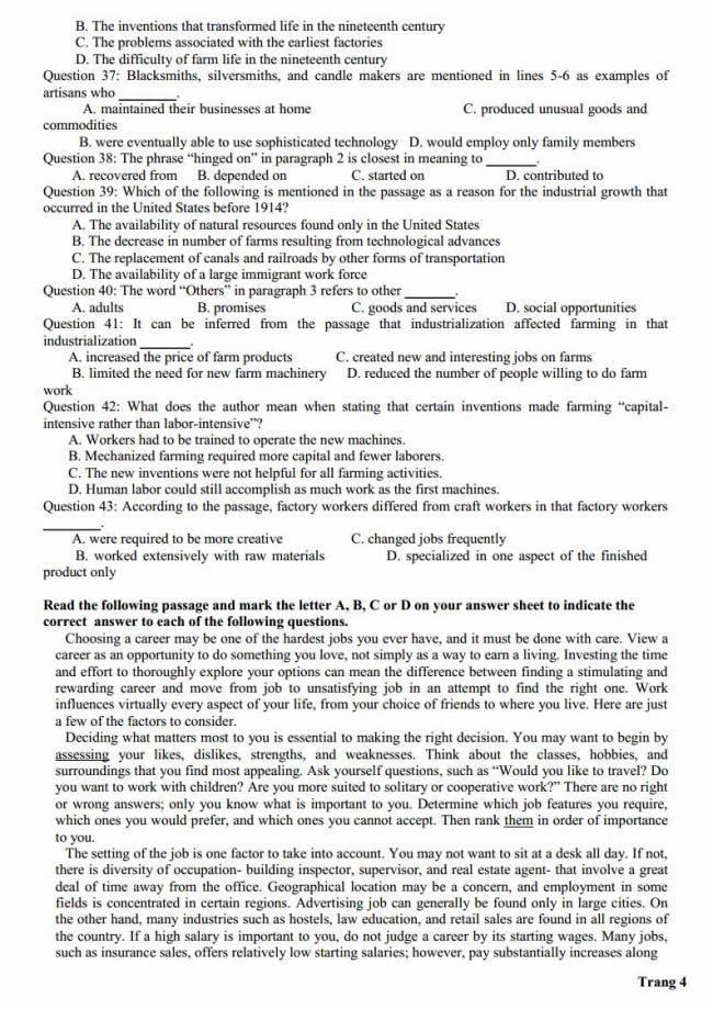 Đề thi thử môn Anh thptqg năm 2018 trường THPT Hà Huy Tập Nghệ An trang 4