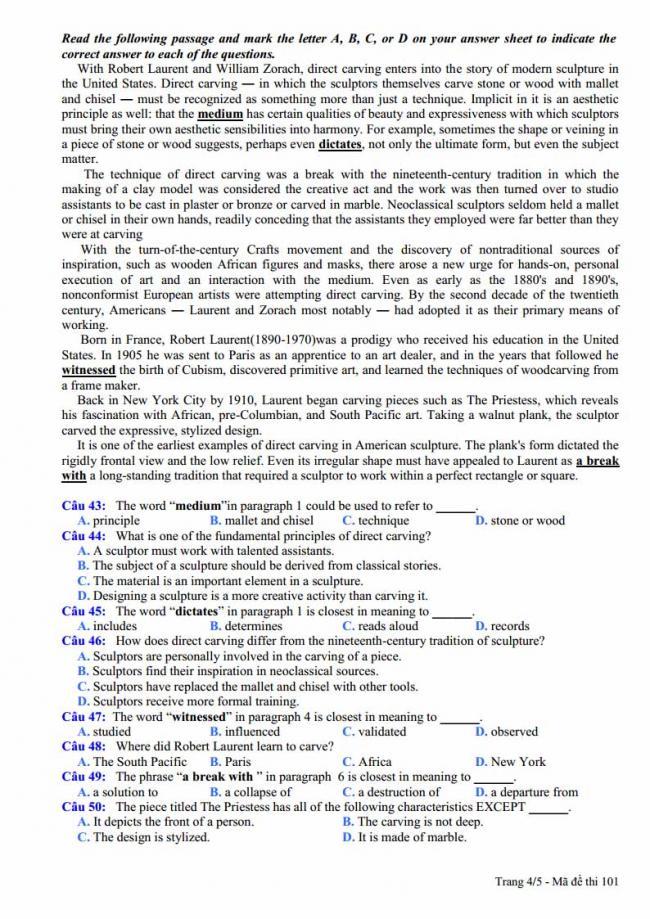 Đề thi thử môn Anh thptqg năm 2018 trường THPT Nguyễn Viết Xuân Vĩnh Phúc trang 4