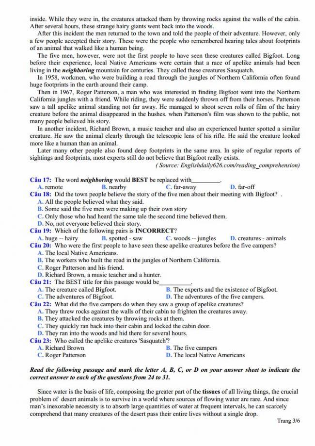 Đề thi thử môn Anh thptqg năm 2018 trường THPT Phạm Công Bình - Vĩnh Phúc trang 3