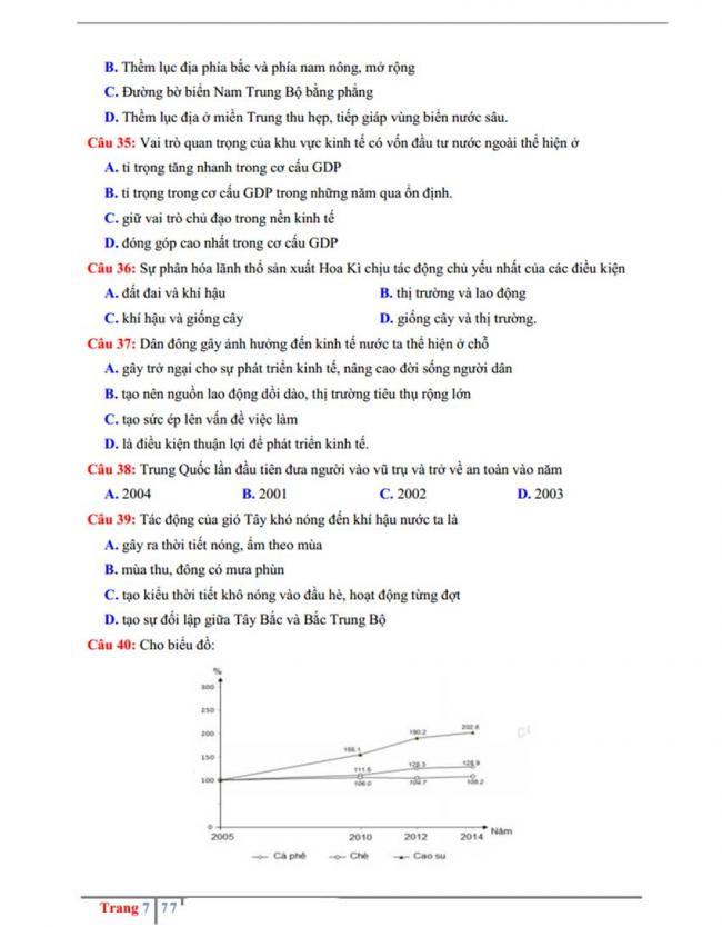 Đề thi thử môn Địa lý thptqg năm 2018 trường Chuyên Hưng Yên trang 7